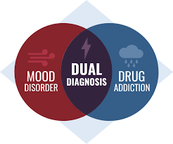 chart explaining dual diagnosis treatment, combining mood disorder and drug addiction